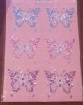6 x butterfly diamante craft stickers blue pink & purple mixed  embellishment